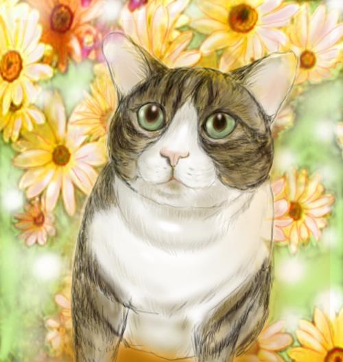 ちびたちゃんと花.jpg